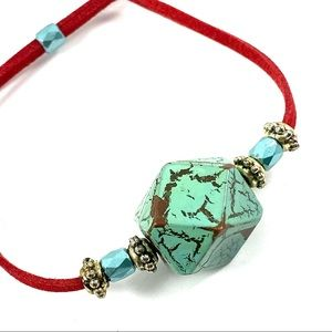 Jewelry - Red suade cord adjustable bracelet (L)